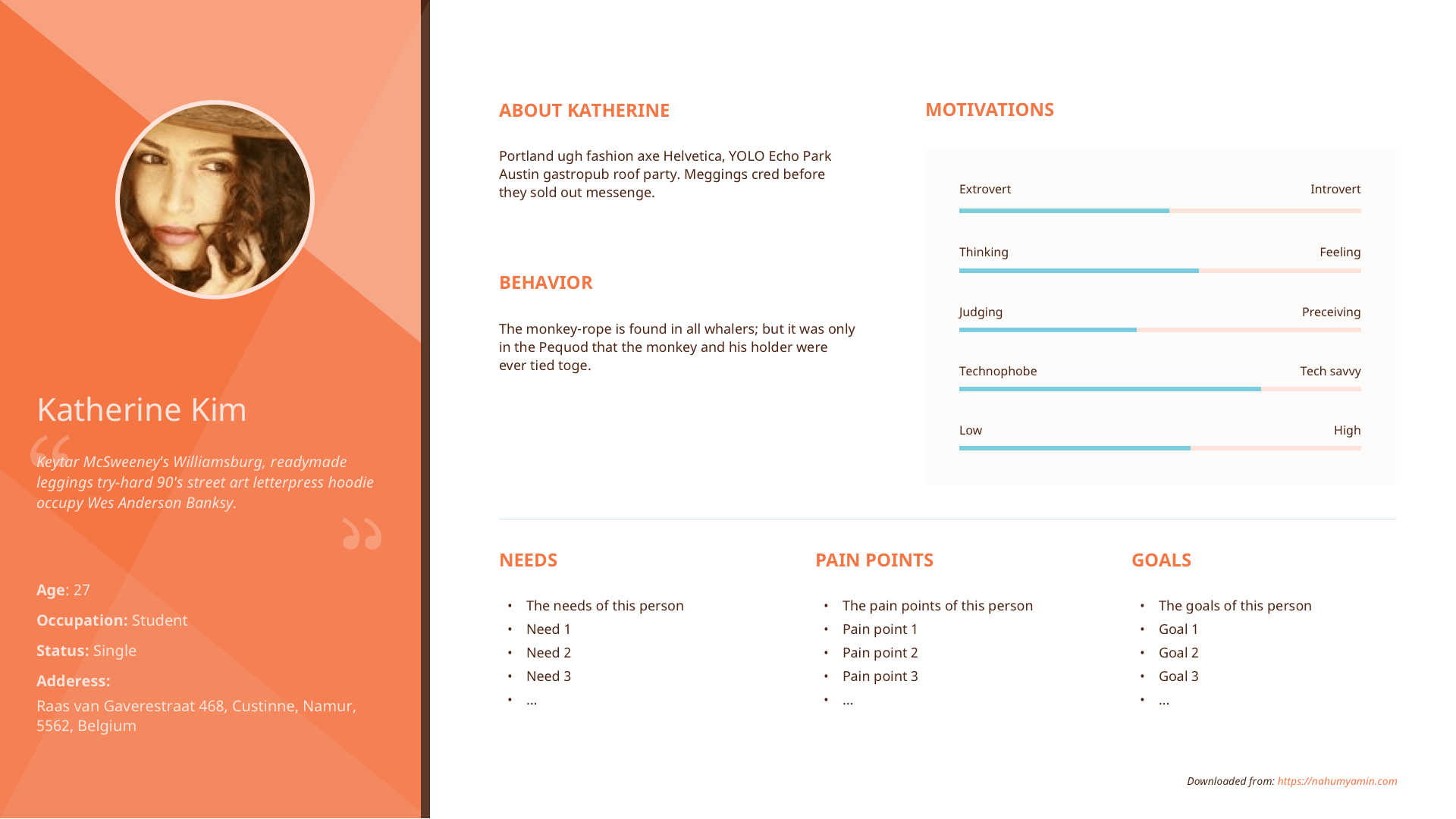 Free Persona Template – Sketch file